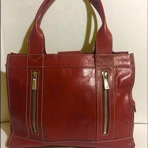 Michael kors red leather hobo handbag